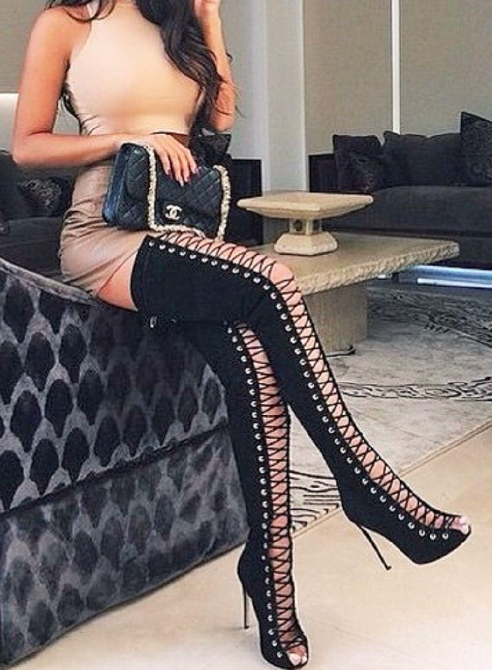 675ddc11dab Thigh High Open Toe Stiletto Heel Lace Up Ove Knee Boots Nubuck Gladiator  Women