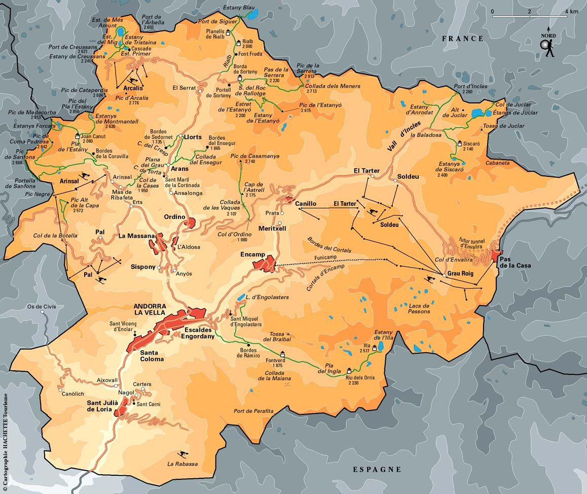 Map of Andorra Tiny wealthy country in Europe has one of the