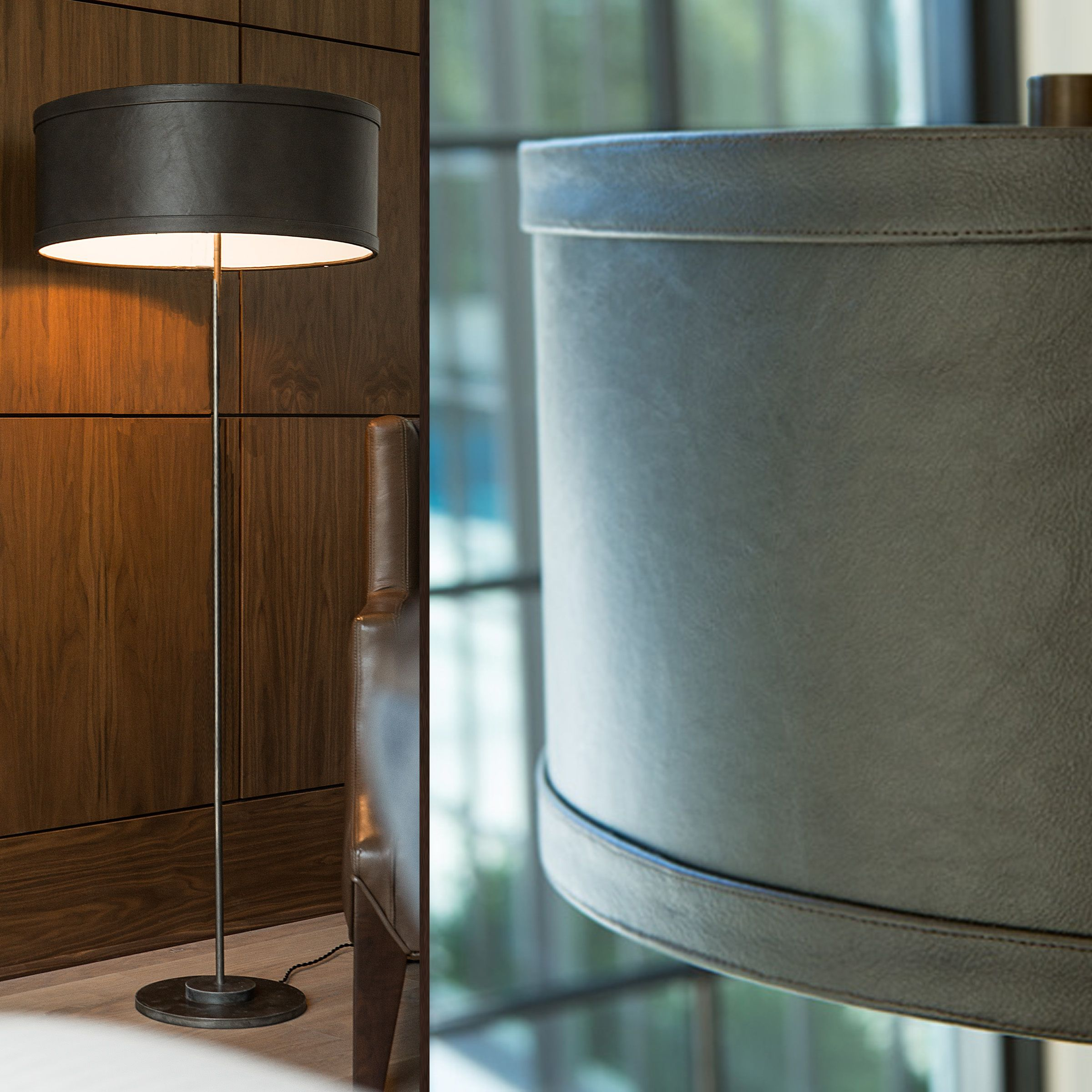 Lawrence, A Floor Lamp With A Leather Shade Simple Sophistication