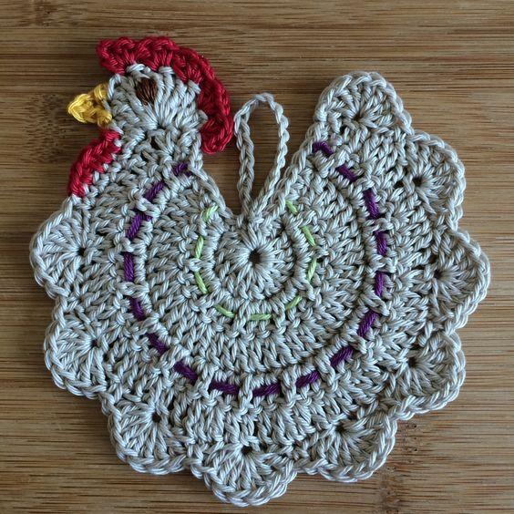 Chicken potholder free pattern: | Crochet | Pinterest | Agarraderas ...