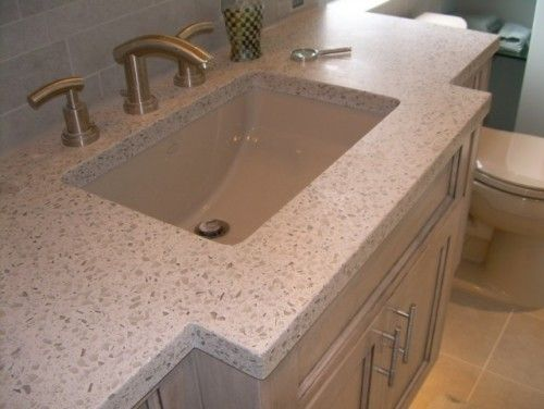 Recycled Gl And Concrete Countertop In A Light Sand Color Countertops Bathroom