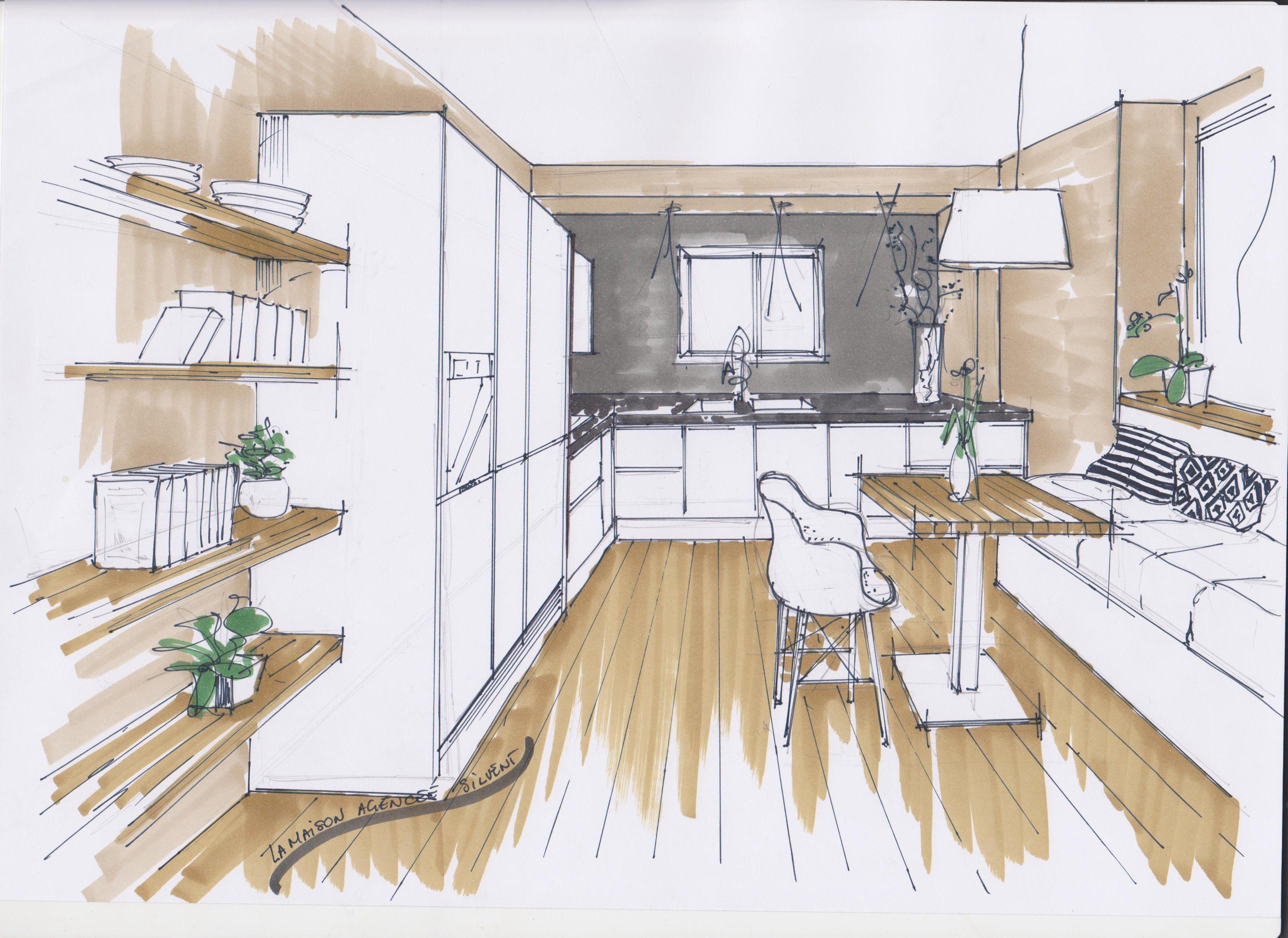 Croquis cuisine la maison agenc e dessin architecture - Cuisine architecte d interieur ...