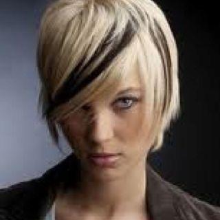 Blonde Hair With Black Streak In Bangs Short Hair Color Short Hair Styles
