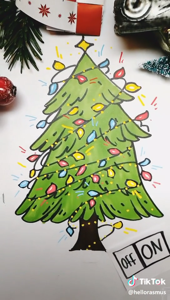 Diy Painting Christmas Tree Download Tiktok Musically To Find More Diy Ideas You Can Re Christmas Tree Drawing Christmas Tree Painting Christmas Poster