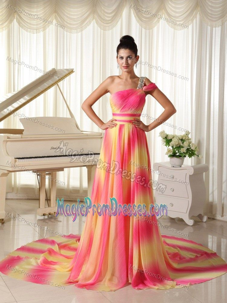 Court Train One Shoulder Prom Dress Ombre Hot Pink Yellow Gradient ... 3263b30fb