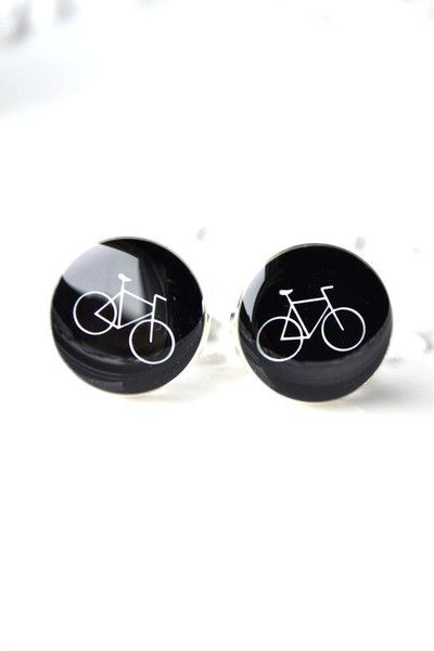 Bike Cufflinks - White On Black / style 82 by White Truffle Studio