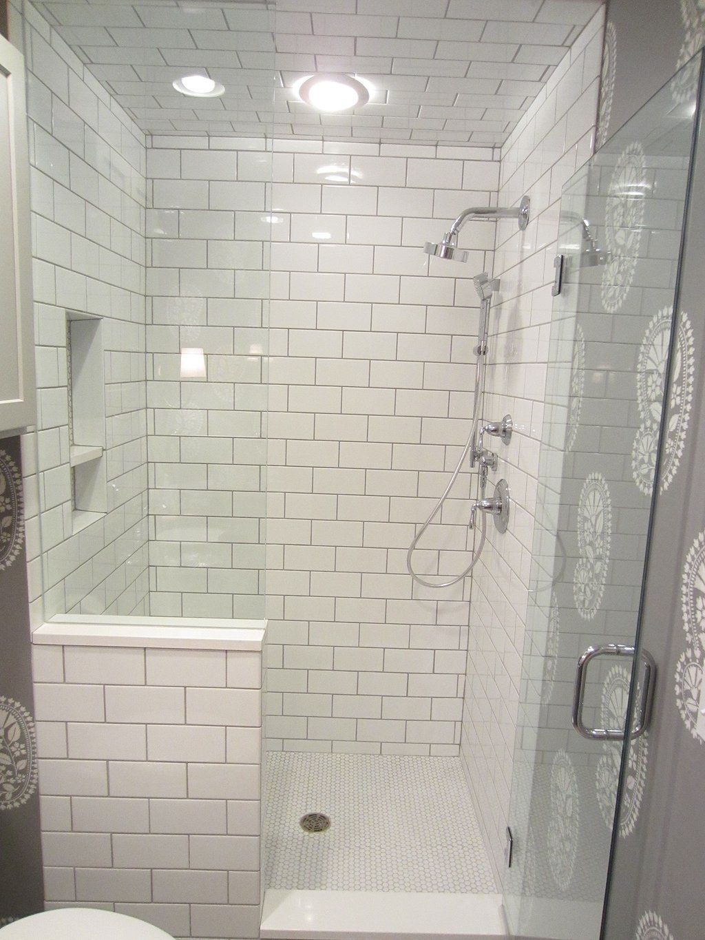 Pin By Holly Mihalovich On Kirby Renovation Half Wall Shower Bathroom Tile Designs Shower Remodel