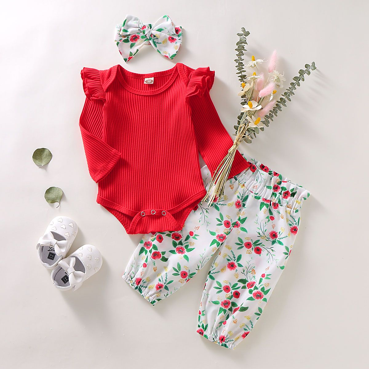 Infant Baby Girls Ruffles Solid Romper Bodysuit+Floral Pant+Headband Outfits Set
