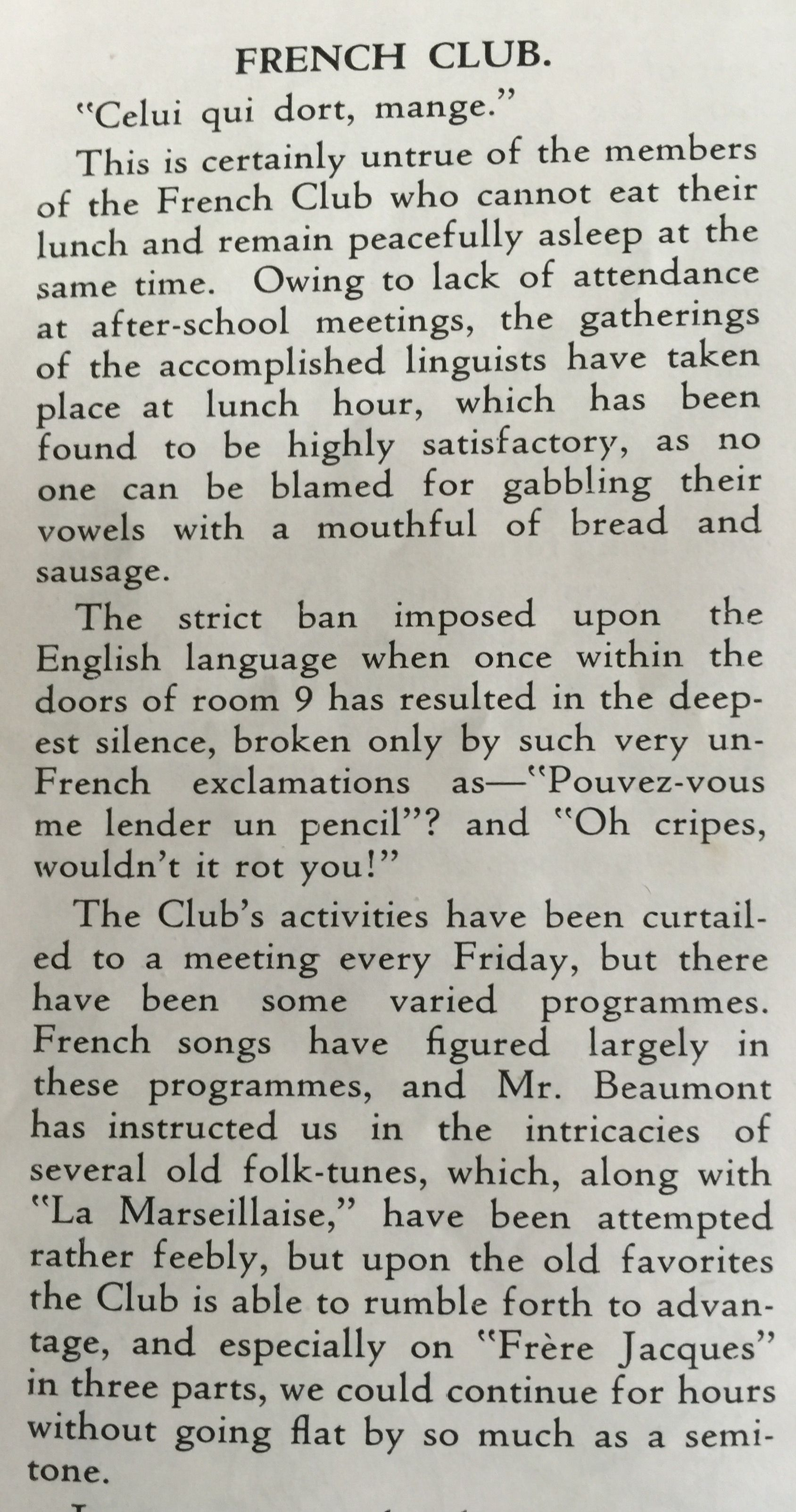 The Unicorn December 1942 French Club Part 1