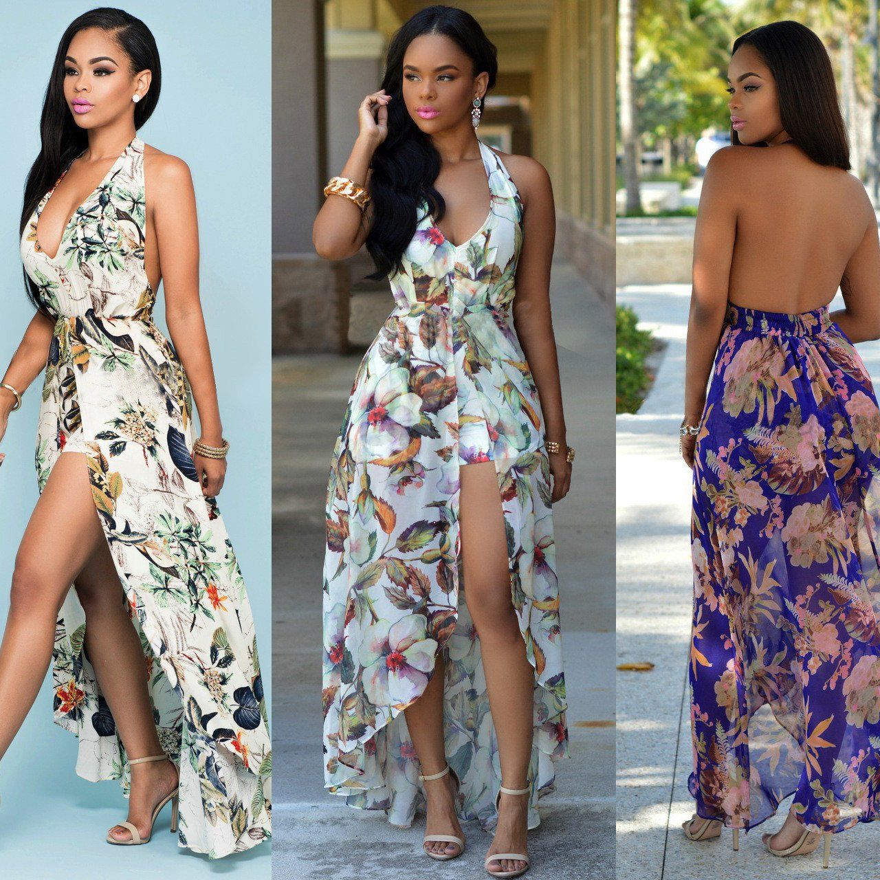 e10db68699 Sexy Backless Floral Halter Sheer Chiffon dress with shorts – On Trends  Avenue