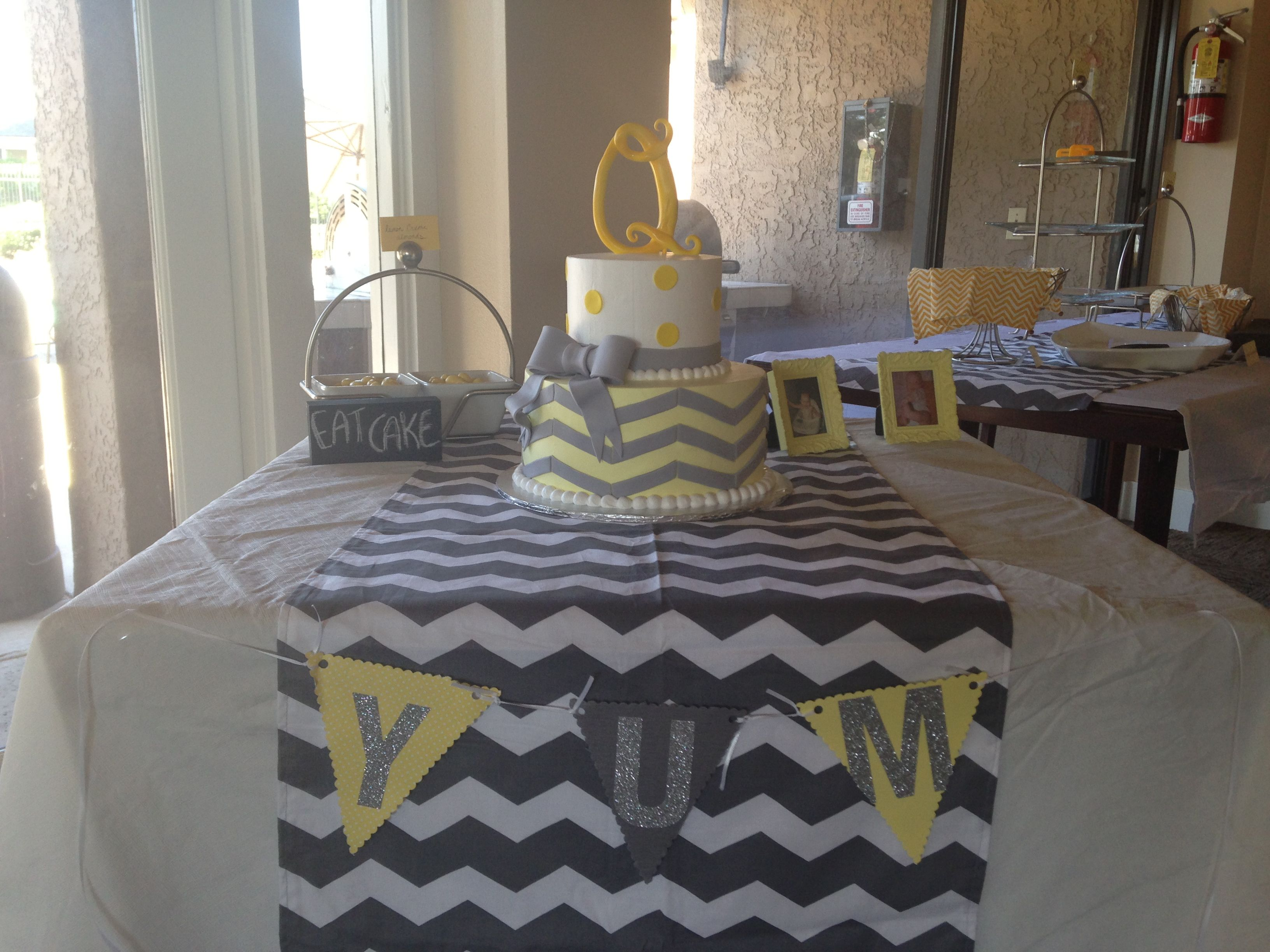 Yellow And Grey Chevron Baby Shower Cake And Table