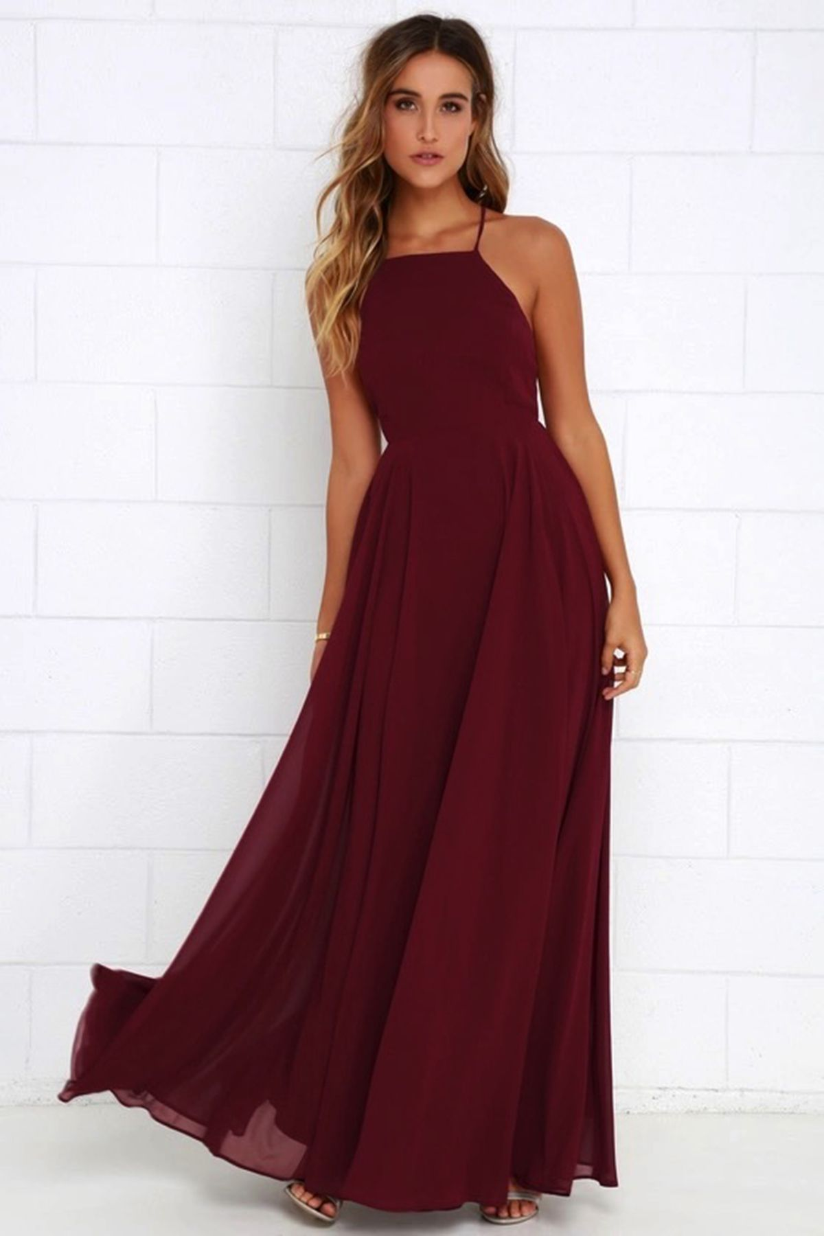 Simple Burgundy Chiffon Strapless Long Open Back Prom Dress Evening Dress In 2020 Red Dress Maxi Maxi Dress Wine Colored Dresses