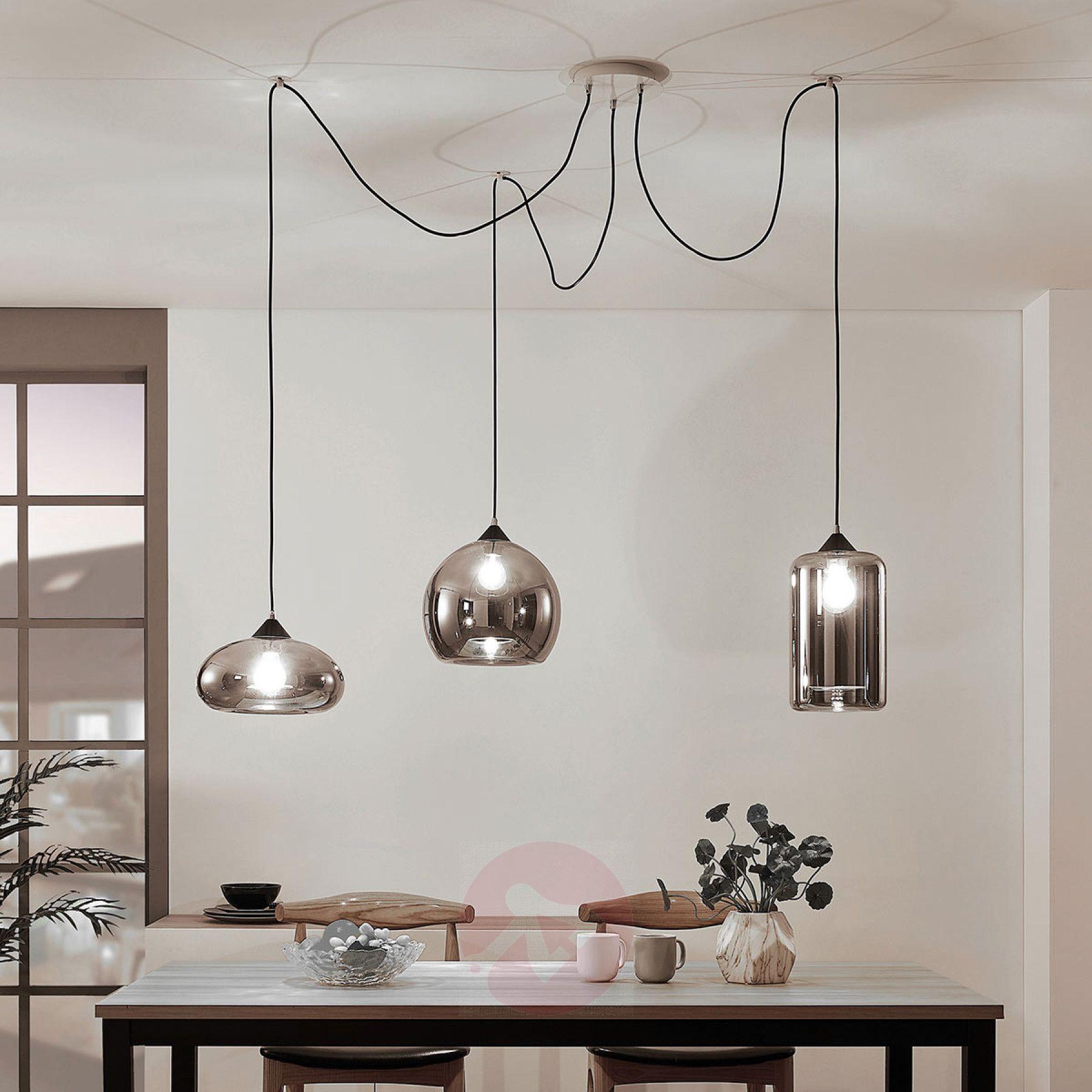 Hanglamp Raquel 3 Lamps Rookglazen Kappen Lampen24 Nl Hanglamp Moderne Lampen Vintage Lampen