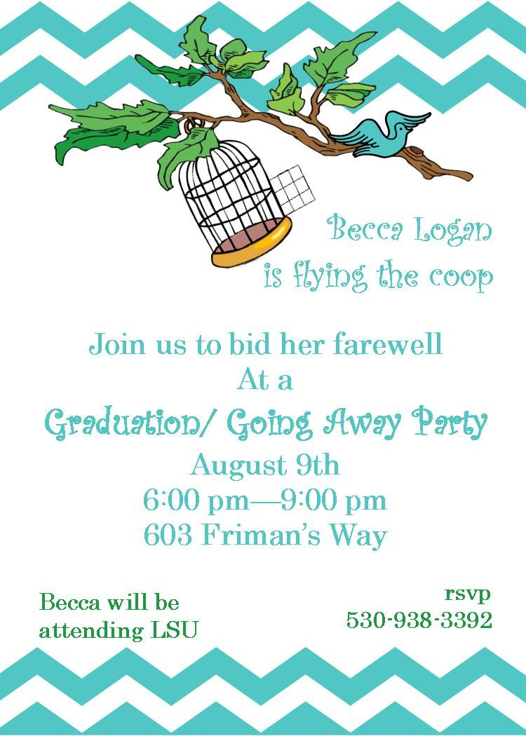 Going Away Party Invitations Flying The Coop  Farewell Going