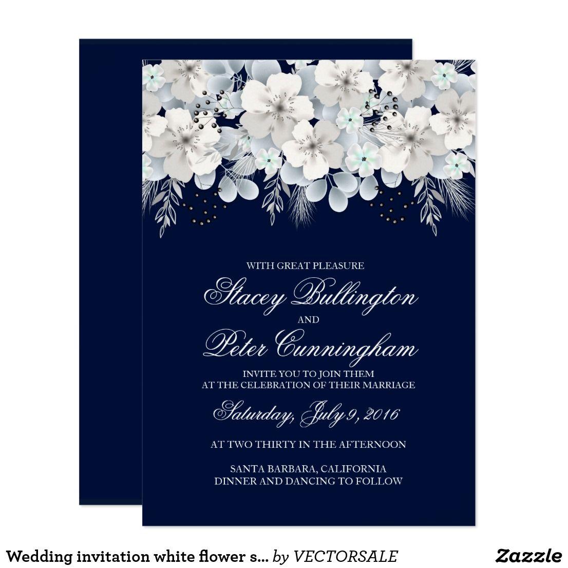 Wedding Invitation White Flower Sakura Navy Blue Zazzle Com Wedding Invitations Zazzle Wedding Invitations Invitations White