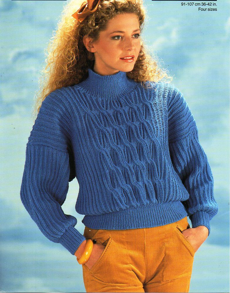 Womens Sweater Knitting Pattern Pdf Ladies Jumper Ribbed High Neck