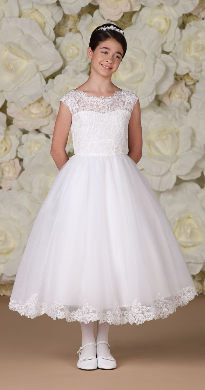 ab5849906b5b First Communion Dress with Floral Lace Bodice and Hemline from ...