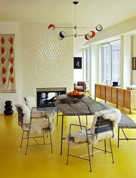 Color Underfoot Brightly Colored Floors Floor Design Dining Room Design Interior
