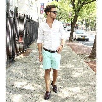 Men's White Long Sleeve Shirt, Mint Shorts, Burgundy Leather ...