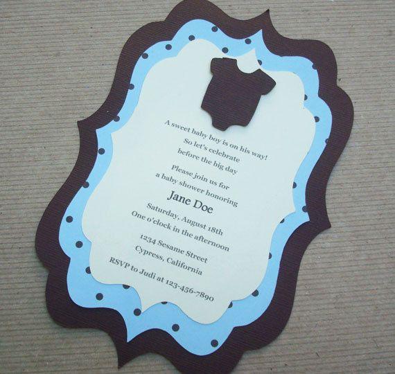 High Quality Handmade Blue And Brown Polka Dot Onesie Invitation For Boyu0027s Baby Shower