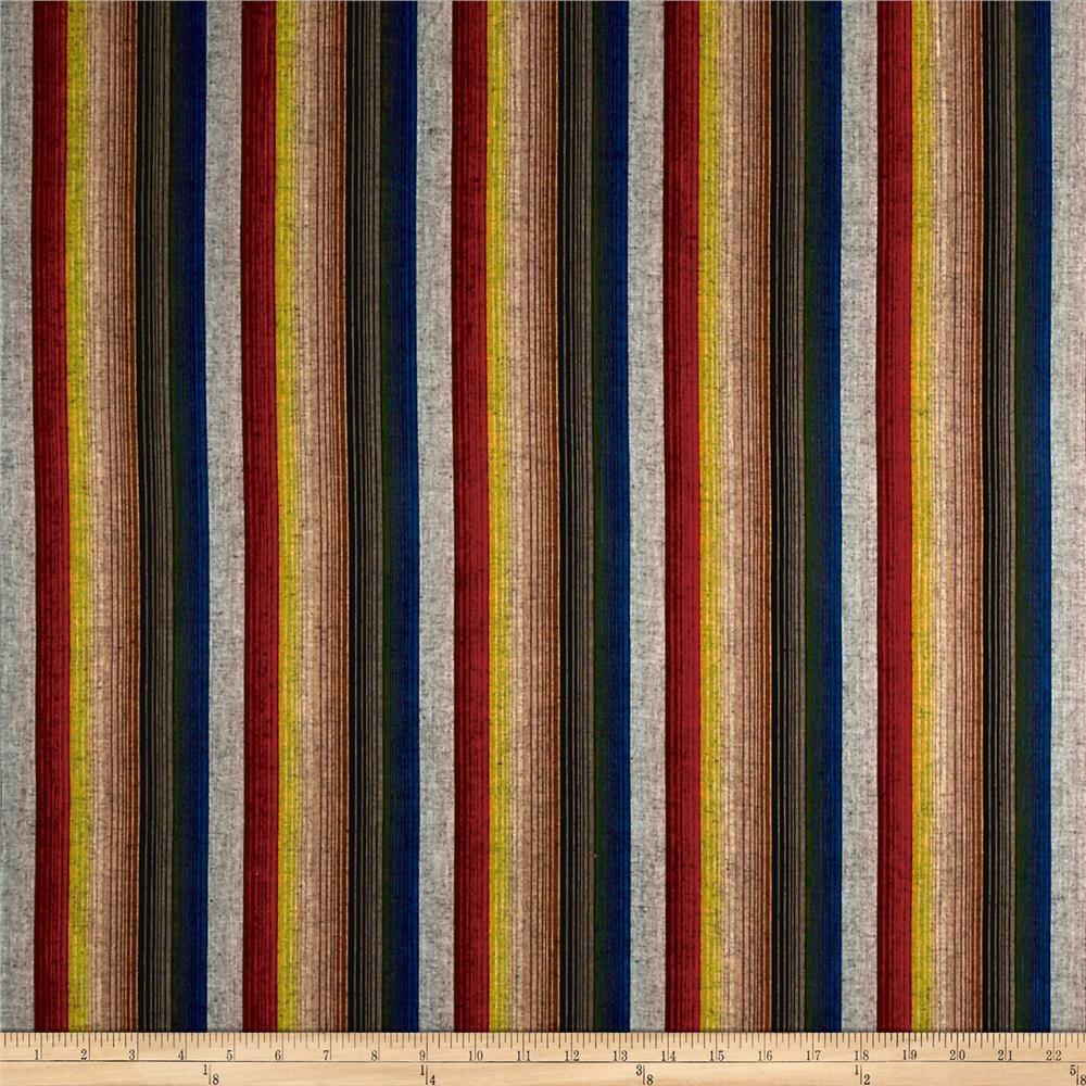Yarn Dyed Shirting Wide Stripe Wine/Red/Brown/Black