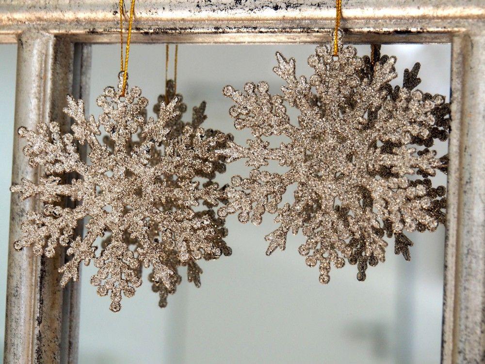 2 Anhanger Schneeflocke Gold Glitzer Weihnachten