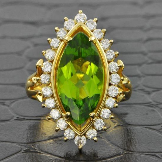 Peridot and Diamond Cocktail Ring | Perry's Fine Antique & Estate Jewelry