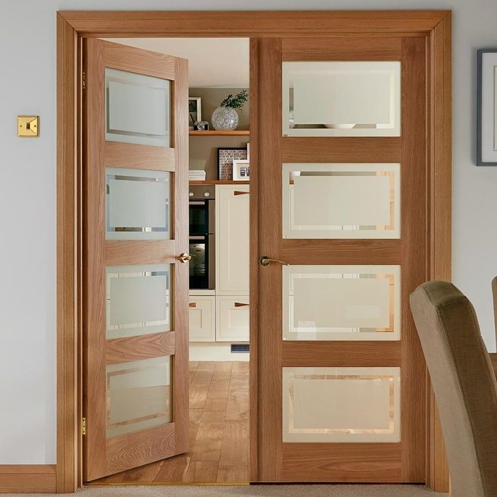 Let Light Into Your Home With Our Four Windowed Shaker Style Internal Door Richly Veneered With R Oak Glazed Internal Doors Hardwood Doors Wood Doors Interior