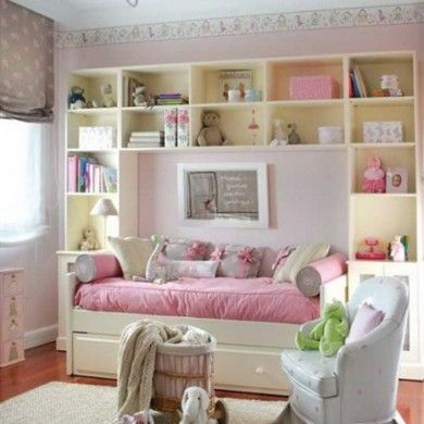 Modern Wall Storage Bookshelf And Pink Beds Design