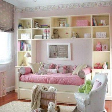 Modern-Wall-Storage-Bookshelf-and-Pink-Beds-Design-in-Teenage ...