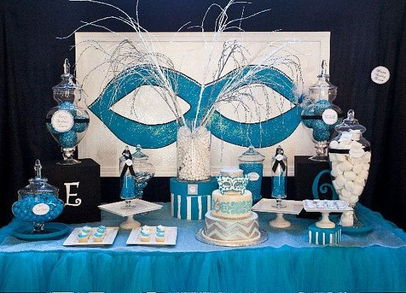 Masquerade Ball Party Decorations Masquerade Centerpiece Ideas  Masquerade Ball  Chevron Birthday
