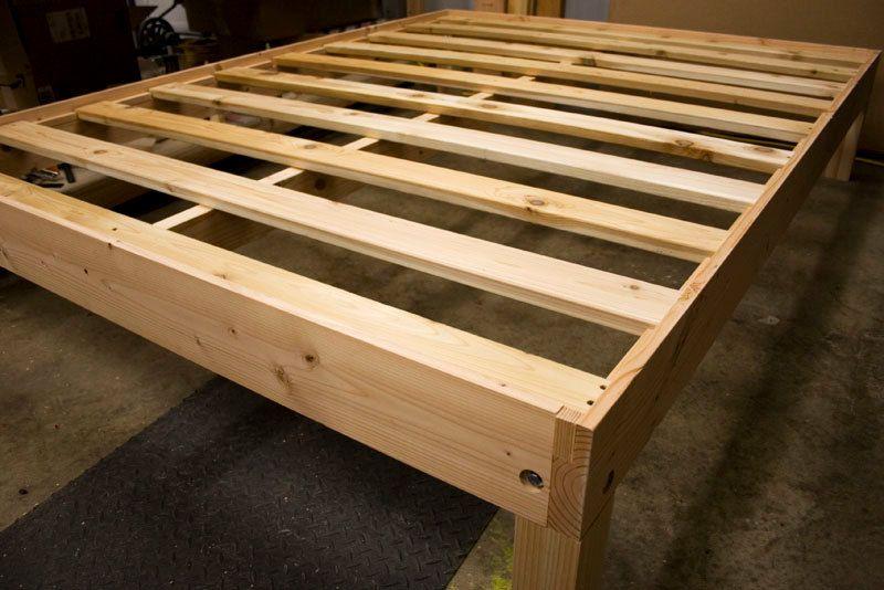 Custom queen size solid fir platform bed frame diy bed