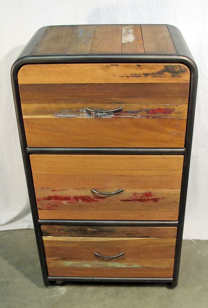 Retro Style Dresser With 3 Drawers Made From Reclaimed