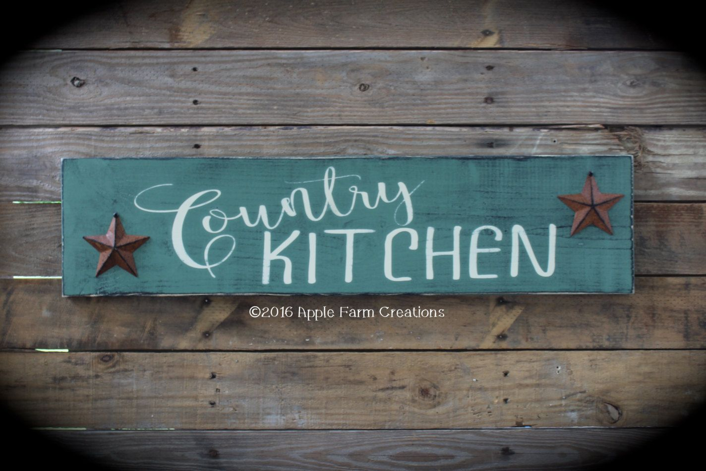 Large Wooden COUNTRY KITCHEN Sign with Rusty Stars; Sage Green ...