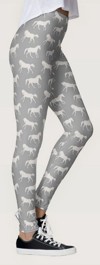 stylish gray horse pattern leggings - equestrian leggings pants with classy galloping horses all over stretchy, spandex leggings that don't lose their shape! great for the hunter jumper, dressage horseback riding cowgirl horse lover #horsepattern
