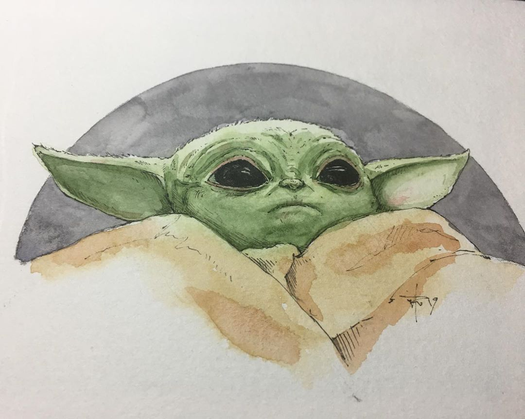 Baby Johnathan Ruples Instagram Photo Ugh I Am In Love With Baby Yoda And I Dont Want To Paint Anything Else Anymor Yoda Art Star Wars Drawings Star Wars Art