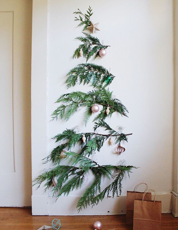 How To Decorate A Small Space For The Holidays Wall Christmas Tree Minimalist Christmas Minimalist Christmas Decor