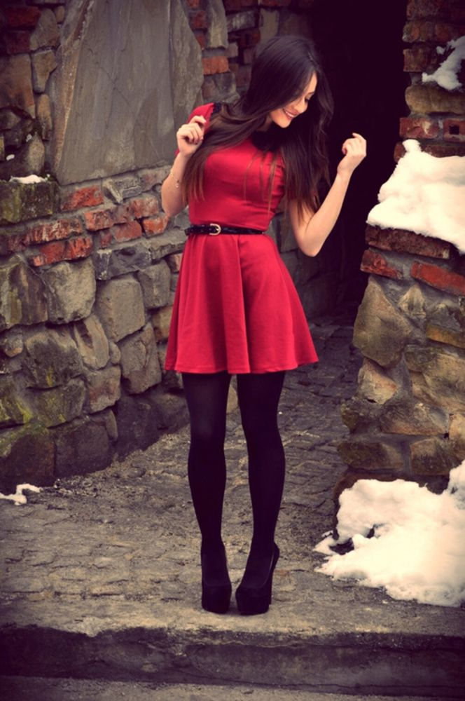 08a4e3039 red skater dress with black stockings and black shoes. Simply love this  style! Fab colour. Very cute dress!