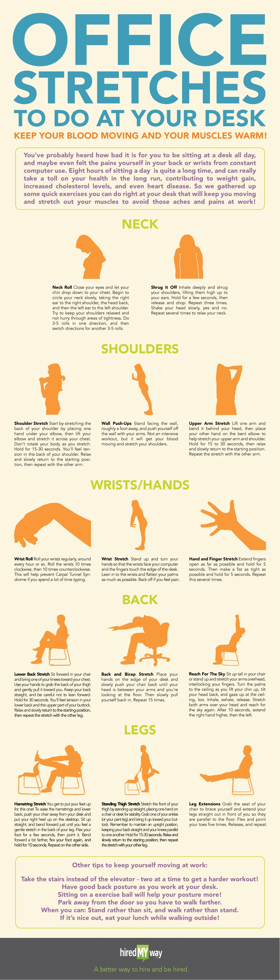 Office Stretches To Do At Your Desk By Hiredmyway Take Care Of