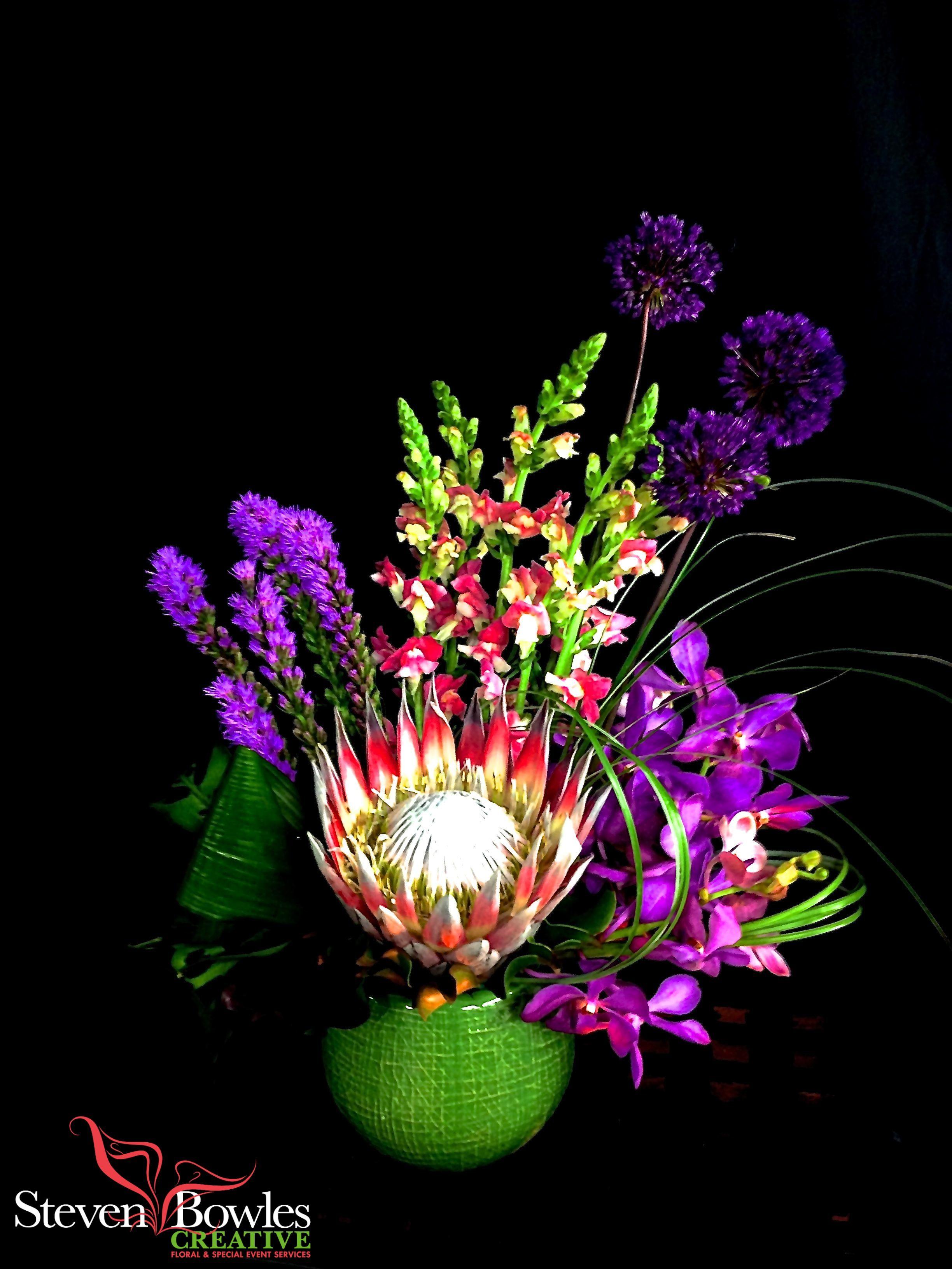 Tropical floral arrangement purple flower arrangement for King protea flower arrangements