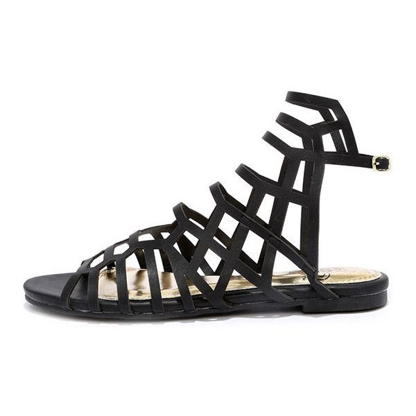 6e21b40299e Sunny Girl Black Gladiator Sandals ( 28) ❤ liked on Polyvore featuring shoes