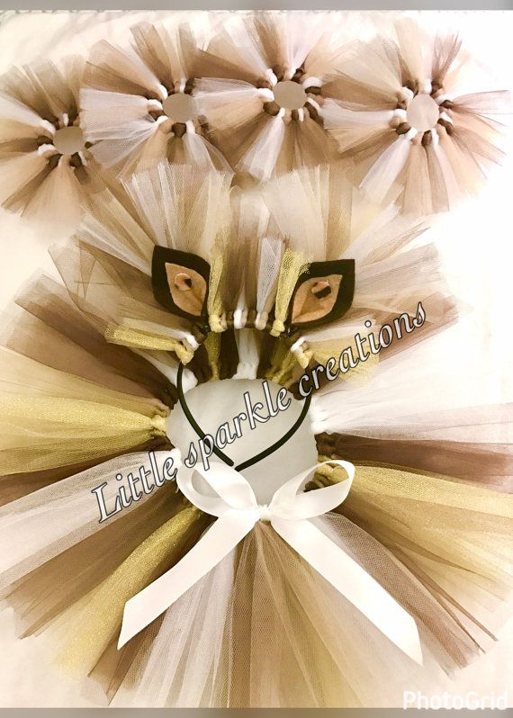 Lion costume is made up of soft and comfortable tulle fabric. Tutu is made on elastic waistband and have white ribbon bow in center. Picture shown includes lion tutu Skirt, headband with ears , footband and hand band. It is not compulsory to buy all the items so options are available to