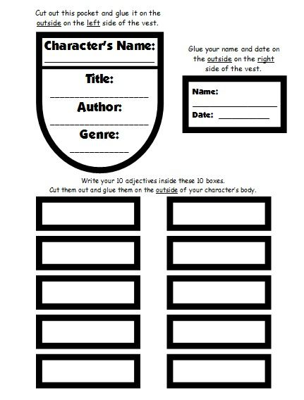 Character Body Book Report Project templates, worksheets, rubric - project report writing template