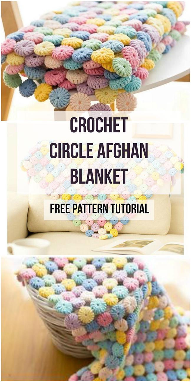 Crochet Circle Afghan Blanket Free Pattern Tutorial en 2018 | Crafts ...