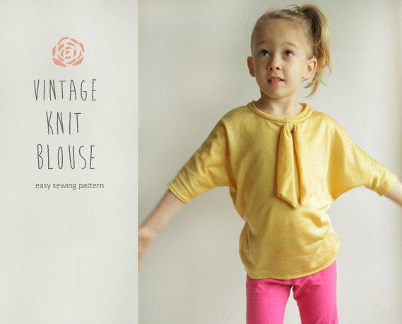 Yellow Vintage Knit Blouse Pattern Pdf Easy Children Shirt Sewing