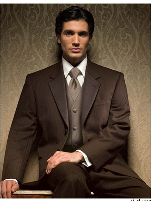 Beige vest/tie, dark brown suit. | Wedding checklist | Pinterest