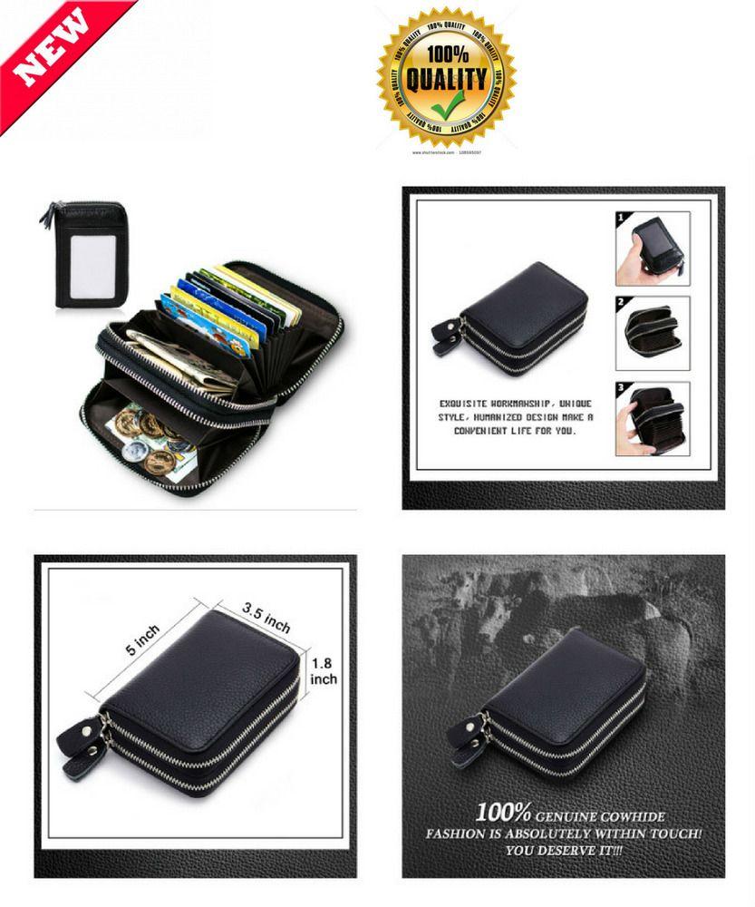Leather Wallet Pocket RFID Blocking Security Safe Credit