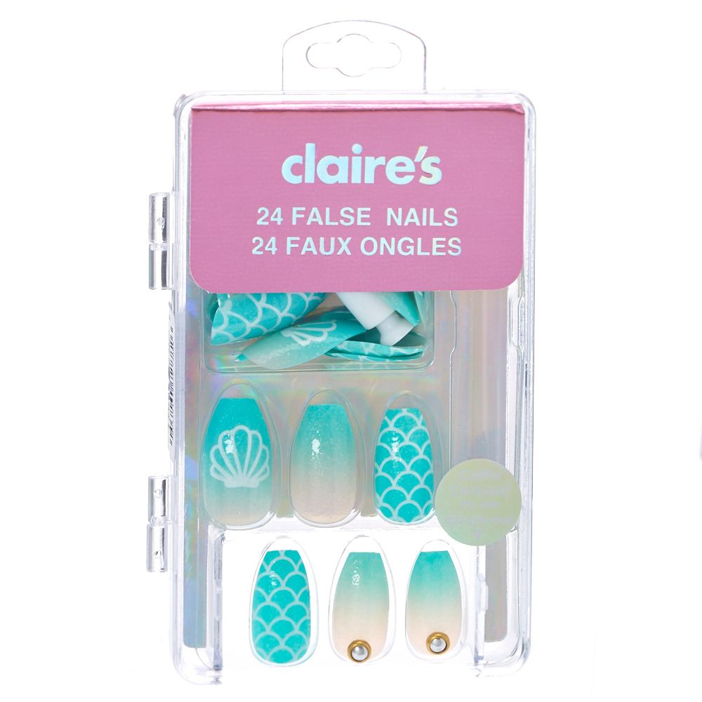 Mermaid Coffin False Nails Claire S Fake Nails Kids Nail Designs Fake Nails For Kids