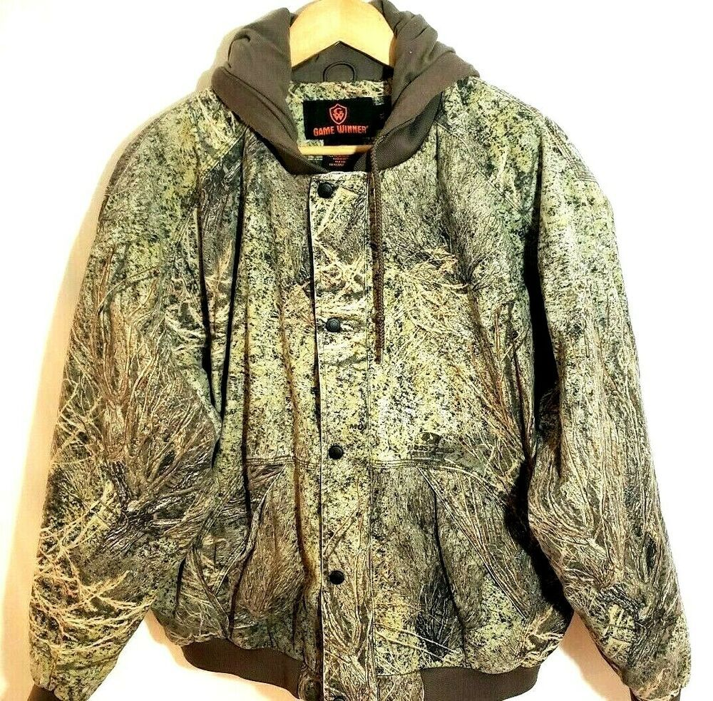 details about game winner camo hooded jacket warm winter on men s insulated coveralls with hood id=38593