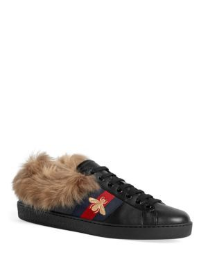 Gucci New Ace Shearling-lined Leather